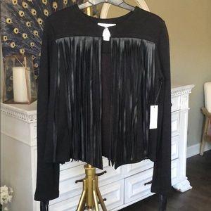 Velvet by Graham Spencer fringe black jacket